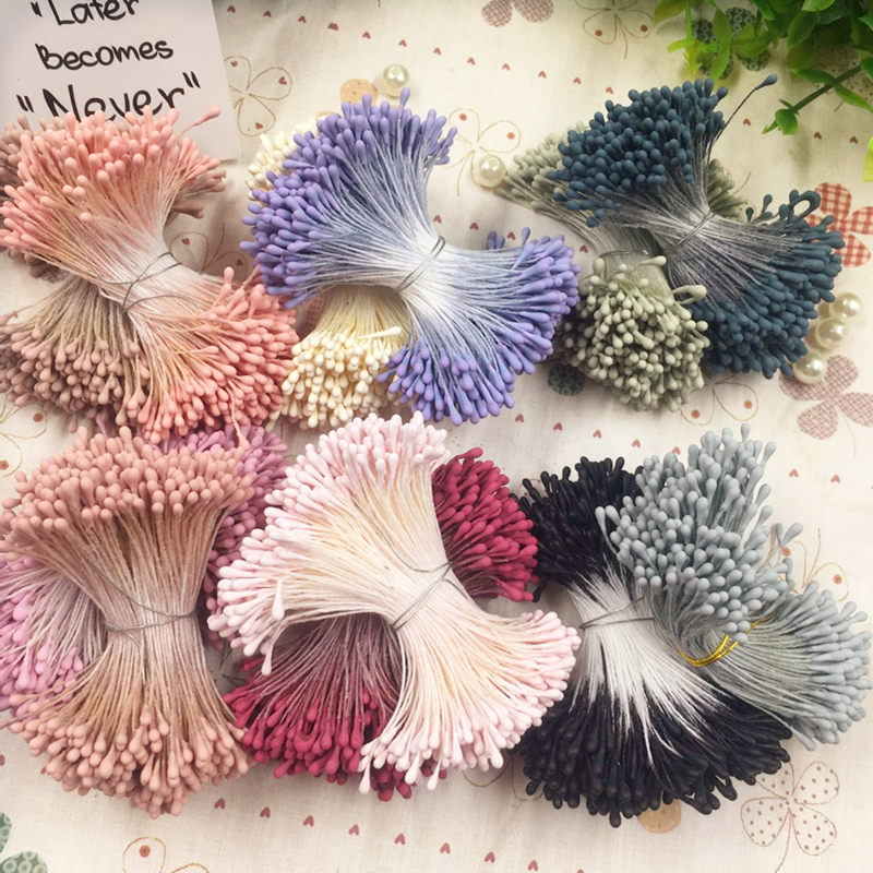 HINDJEF 400pcs 1mm Matte Double Heads Mini Flower Stamen Wedding Decoration Scrapbooking DIY Artificial Pearl Cards Cakes Flowe in Artificial Dried Flowers from Home Garden