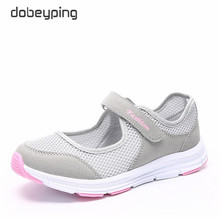 dobeyping New Summer Women Shoes Air Mesh Woman Flats Shoe Soft Mother Sneakers Hook&Loop Female Loafers Casual Walking