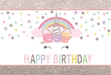 Laeacco Unicorn Backdrop For Photography Happy Baby Birthday Party Silver Star Polka Dot Photo Background Photocall Studio
