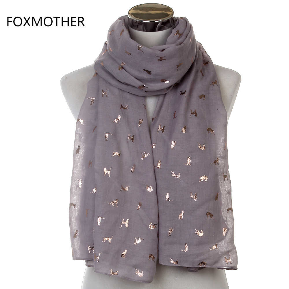 FOXMOTHER Scarf Women Scarves Luxury Shiny White Navy Yellow Bronzing Foil Gold Cat Scarf Shawl Hijab Neck Head Scarves Ladies