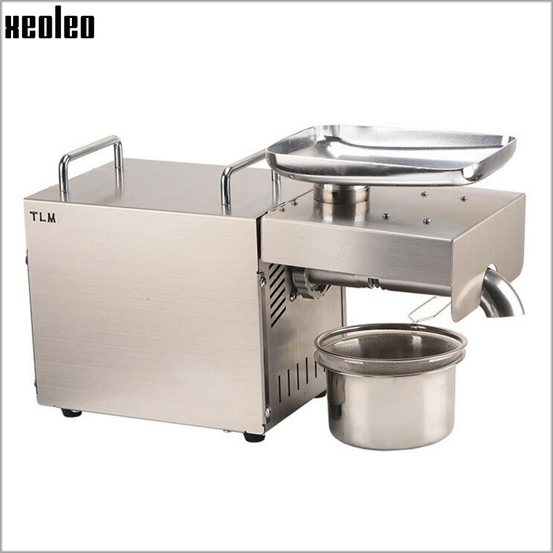 Xeoleo 1500W Stainless steel Oil presser Home use Oil press machine Peanut/Olive oil maker 220V/110V suitable for Sesame/Almond automatic small peanut oil press machine oil soybean presser 220v 200w stainless steel brand new for home use