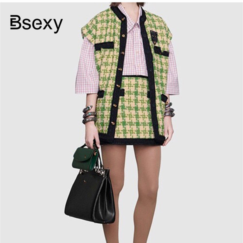 Runway Tweed Top and Skirt Sets 2019 Houndstooth Checker Pattern Two Pieces Skirt Suit For Women Lady Trim Plaid Vest Skirt Suit