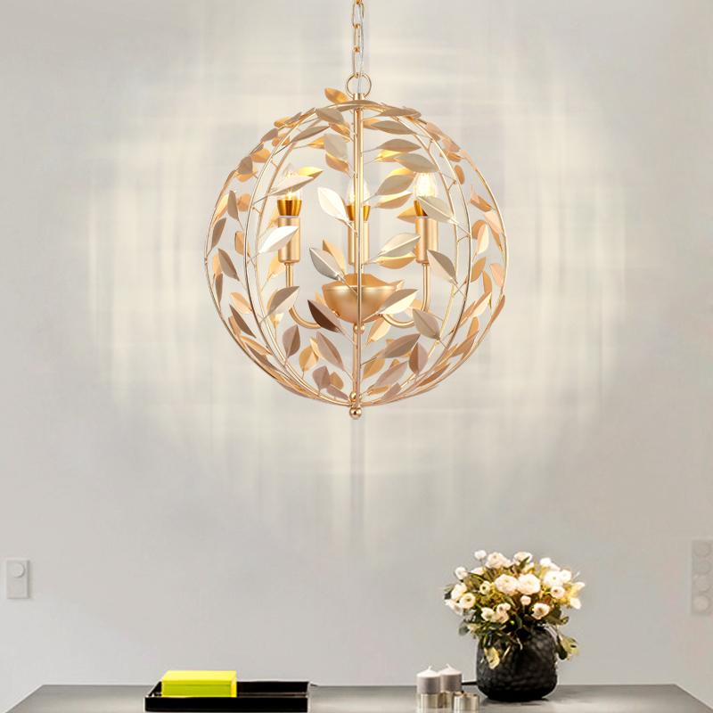 Nordic gold leaf Pendant Lights for Diving room/Restaurants Kitchen Pendant Lamps E27 Fixtures LED Hanging Lamp