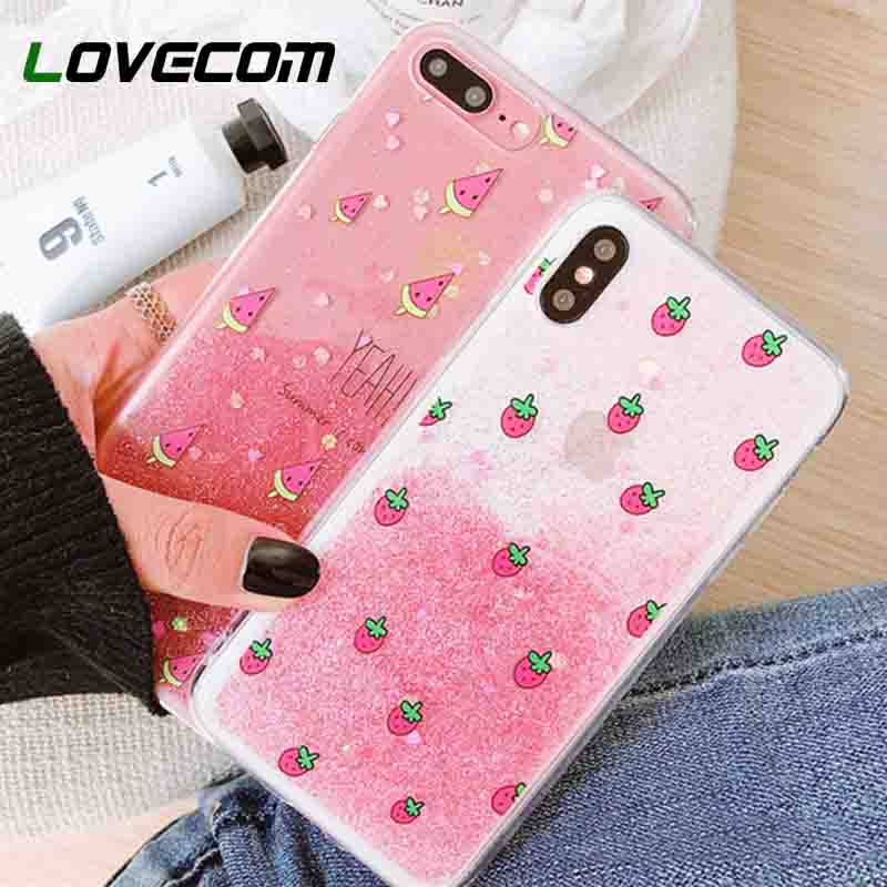 LOVECOM Glitter powder Gradient Phone Case For iPhone 6 6S 7 8 Plus X Lovely Pin