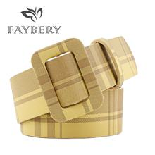 Fashion Brand Women Belts For Square Shape Pin Buckle Designer High Quality PU Female 9 Colors Stripes