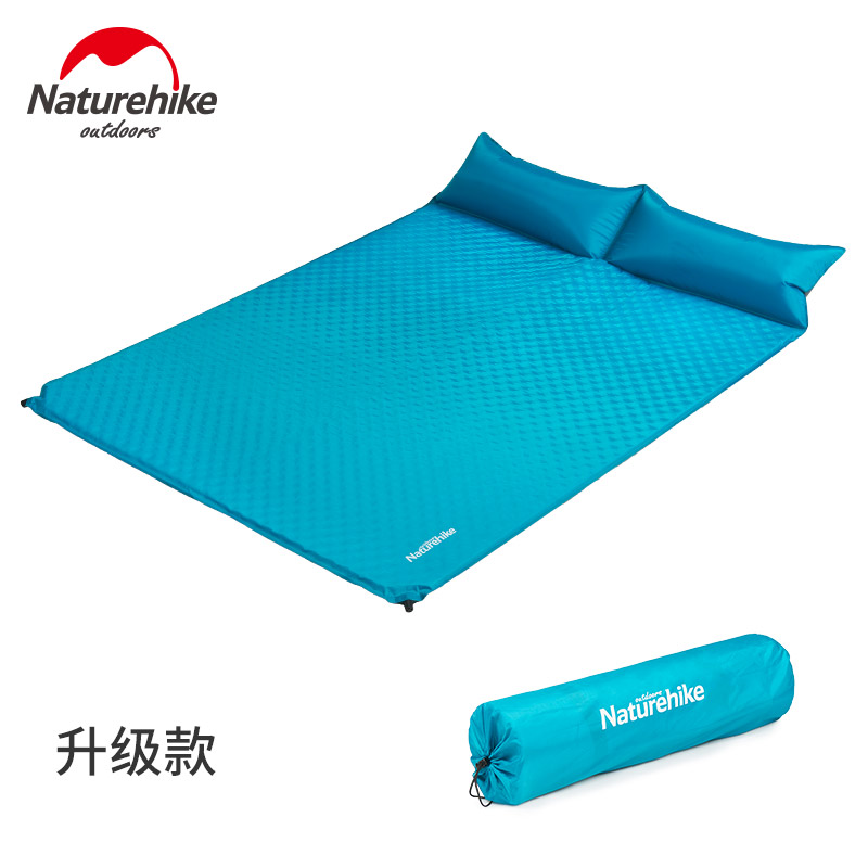 Naturehike Double Inflatable Mattress Outdoor Air Bed Camping Mat Travel Tent Moisture-proof Sleeping Pad With Pillow Yoga Mats naturehike inflatable mattress with pillow beach mat double inflatable cushion outdoor tent camping mat air bed sleeping pad
