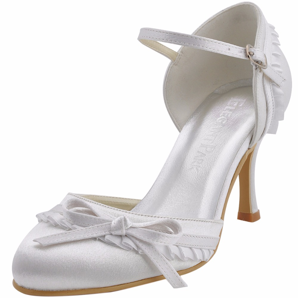 цена на EP11070 Sweet Women Wedding Shoes White Size 37 Round Toe Buckle high Heel Lace Bride Bridesmaids Prom Evening Bridal Pumps