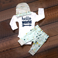 Trajes de Los Bebés recién nacidos Ropa de Bebé 3 UNIDS Largo leeve Mameluco Superior Pantalones llenos de Sombreros Del Bebé Del Otoño 2016 Trajes de Bebé Fija Hola Mundo