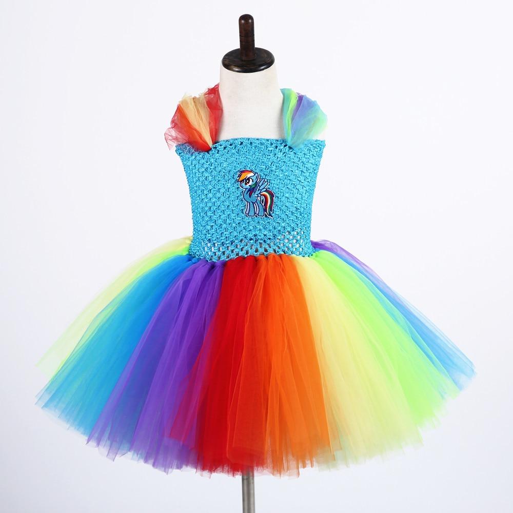 Girls Pageant Festival Tutu Dress Cartoon Little Pony Designs Lolita Kids Rainbow Dash Fluffy