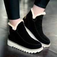 Jesień Zima Śnieg Buty Damskie Okrągły Nosek Kostki Ciepłe Pluszowe Śnieg buty Slip-On Women Shoes Mieszkania Czarny Beżowy Brązowy Plus Rozmiar 34-43