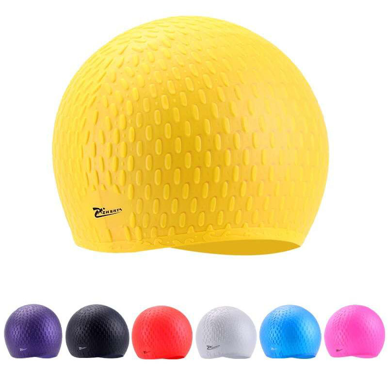 Silicon Swimming cap Adults Waterproof Large Swimming Pool hat swim Cover Long Hair Ear Protect Flexible particle Diving Caps