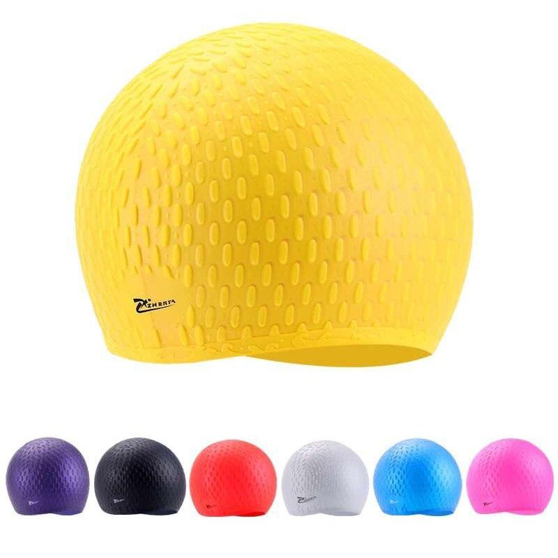 Силиконова шапка за плуване Унисекс Възрастен Водоустойчива плувна шапка плува покриване на ухото за защита на гъвкави частици плувни шапки