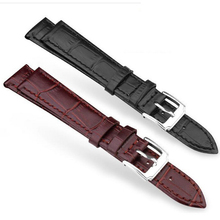 neway Durable Genuine Leather Watch Band Strap with Silver Buckle 12 14 16 18 20 22 24mm  Watchband Black Brown For Man Woman