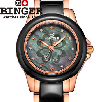 Hot Fashion Wristwatch Ceramic Printed Flower Gold Casual Watch For Ladies Quartz Watches Women Dress Binger