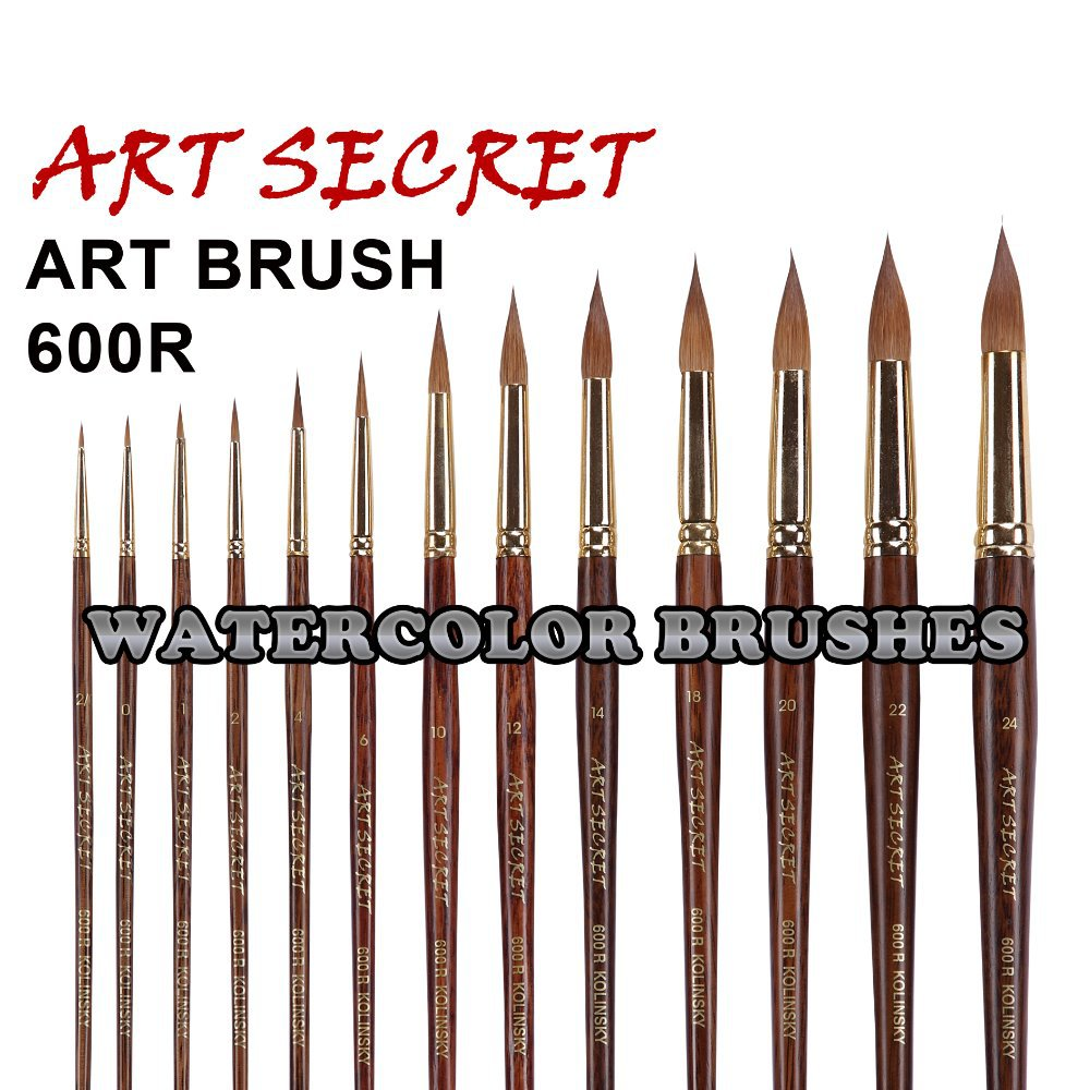 600R High Quality Pure Kolinsky Hair Gold Plating Ferrule Oak 180MM Wooden Handle Watercolor Paint Art Supplies Artist Brush