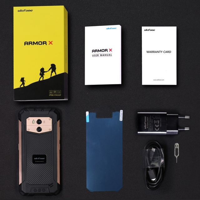 Ulefone Armor X IP68 Waterproof Mobile Phone Android 8.1 5.5″ HD Quad Core 2GB+16GB NFC Face ID Wireless Charge Smartphone
