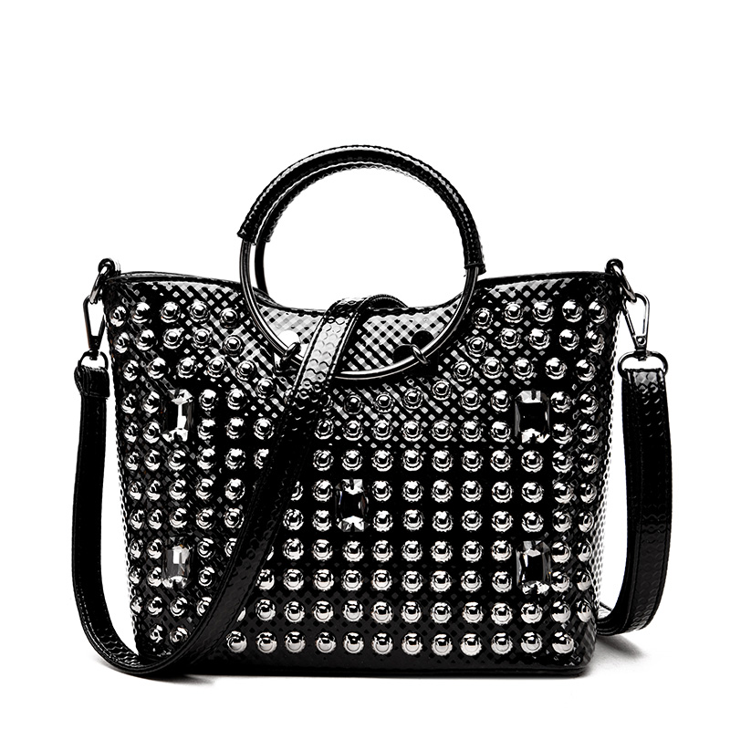 fashion glossy embossed rhinestone rivet ring totes handbag summer new tide casual small messenger shoulder bags embossed rhinestone hollow leaf ring