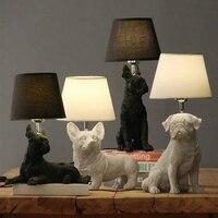 Resin Cute Dog Table Lights Lamp bedside Corgi Boston Pug Beagle Dog Desk Lamp Retro Animal Black white dog table light