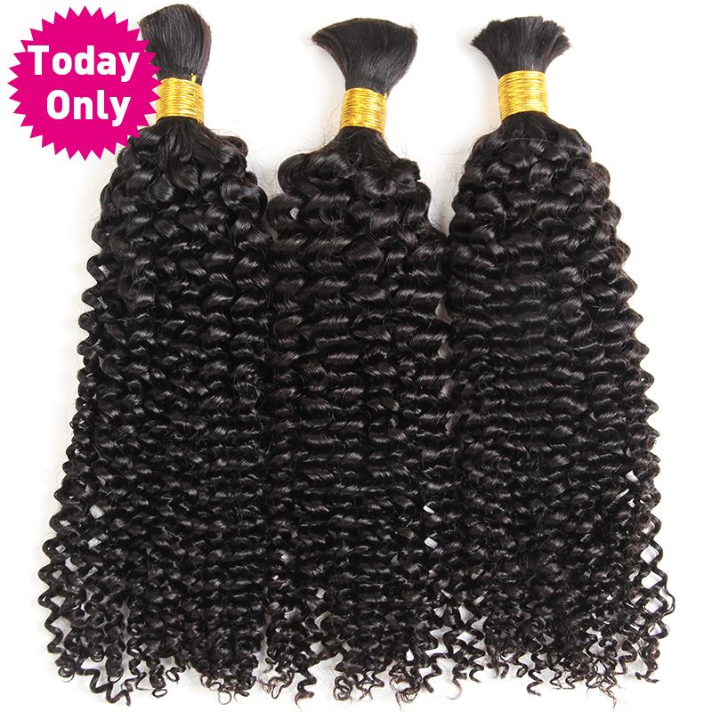 TODAY ONLY Malaysian Kinky Curly Hair Bundles Human Braiding Hair Extensions Crochet Human Braiding Hair Bulk