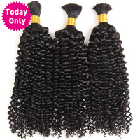 TODAY ONLY Malaysian Kinky Curly Hair Bundles Human Braiding Hair Extensions Crochet Human Braiding Hair Bulk No Weft Remy