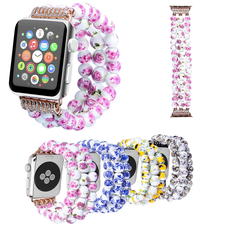 Handmade Women's Flower Ceramic Beads Bracelet for Apple