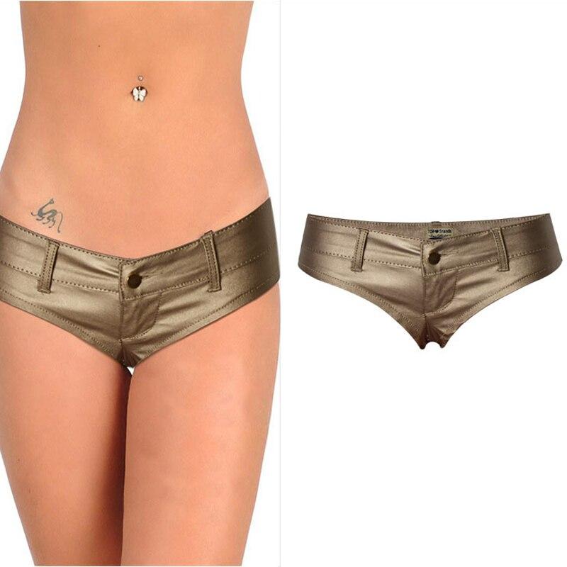 Été cuir Shorts femmes Style européen et américain taille basse femme or Booty bref PU Shorts filles chaud Sexy Streetwear