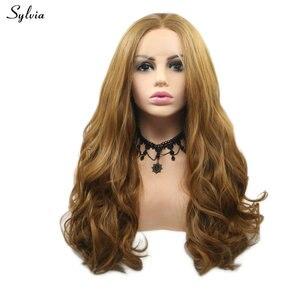 Silvia 27 # Body Wave rubia larga peluca con malla frontal fibra de pelo resistente al calor Cosplay sintético disfraz para mujeres Makeup Drag Queen