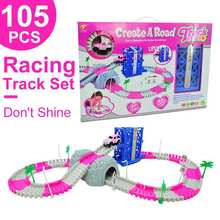 hot deal buy electronics track car toys with flashing lights educational toys for children boys birthday gift boy play track together led car