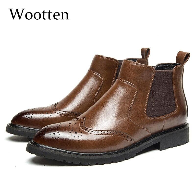 2019 Männer Winter Schuhe Chelsea Formale High Top Erwachsene Leder Fashion Echtes Winter Männer Stiefel #78094 üBerlegene (In) QualitäT