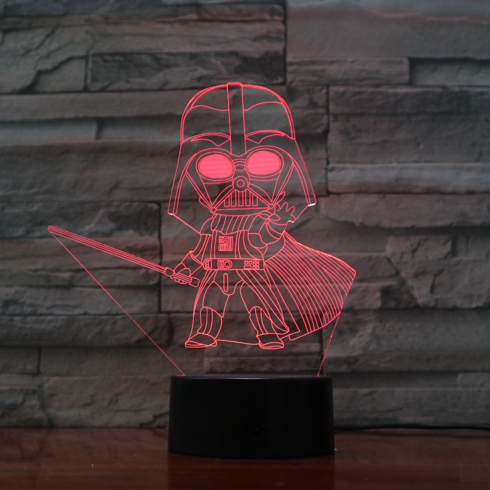 Cartoon Darth Vader 3D Optical Illusion Table Light Mood Lamp Touch Remote Control 7 Colors Home Light Party Decor Kids Gift cat 3d night light animal changeable mood lamp led 7 colors usb 3d illusion table lamp for home decorative as kids toy gift
