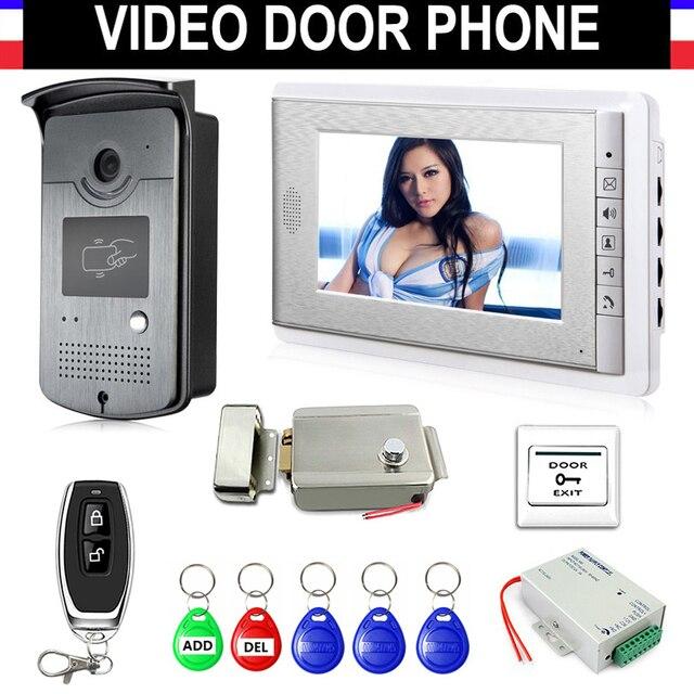 """7"""" Screen Video Door Phone Doorbell Intercom System with Electric Lock+Remote Control + Power Supply+ Door Exit+ ID Keyfobs"""