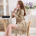 2015 New Style Autumn Winter Slim Trench Coat Fashion Double-breasted Fit Coat Women Solid Color Long Trench Outwear Hot Sale