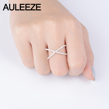 AULEEZE 0.28cttw Certificate Diamond Rings For Women 18K Solid Yellow Gold Trendy Intersect Knuckle Ring Diamond Jewelry