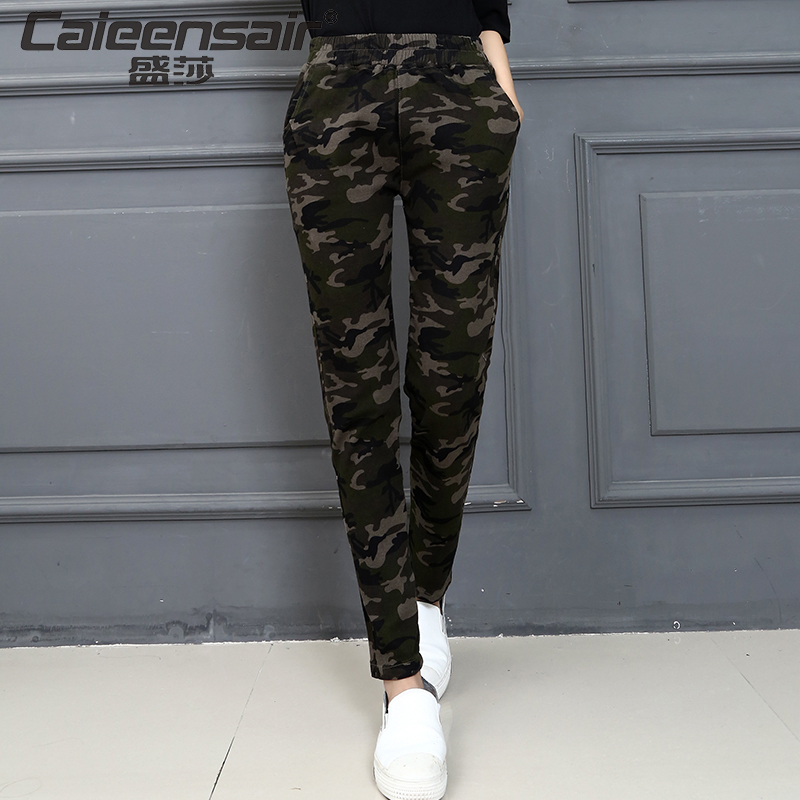 Women casual camouflage pants female slim plus size ...