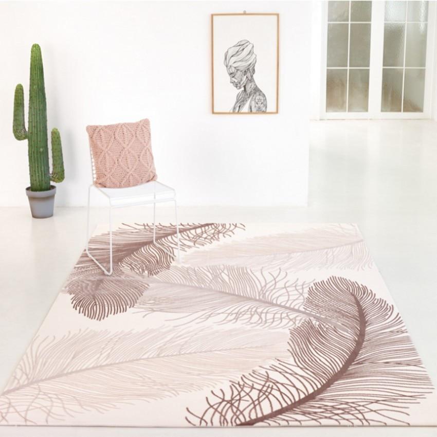 Handmade 3D Sculptured Feather Pattern Carpet , American Style Living Room Carpet, Bedside Carpet Home Decoration Carpet