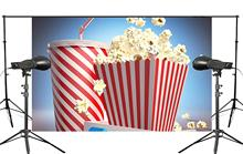 Exquisite Blue Background Flying over Popcorn with a Cup of Drink Cartoon Studio Photography 150x220cm