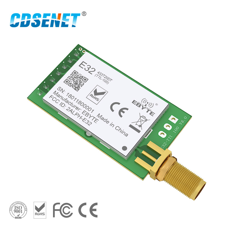 LoRa SX1278 433 MHz Wireless rf Module iot Transceiver CDSENET E32-433T20DT UART Long Range 433MHz rf Transmitter Receiver drf4463d20 043a2 433mhz 5v 100mw si4463 uart wireless data transmitting module for arduino