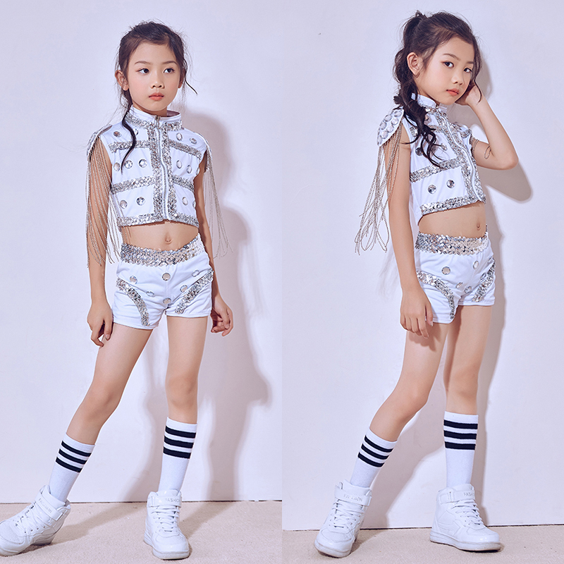 Hip Hop Dance Costume Girls Children'S Day Jazz Stage Performance Sequins Clothes Street Dance Clothing Performance Wear DN1810