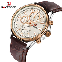 Watches Men Top Luxury Brand NAVIFORCE Men Military Sport Luminous Wristwatch Chronograph Leather Quartz Watch Relogio