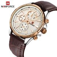 Watches Men Top Luxury Brand NAVIFORCE Men Military Sport Luminous Wristwatch Chronograph Leather Quartz Watch Relogio