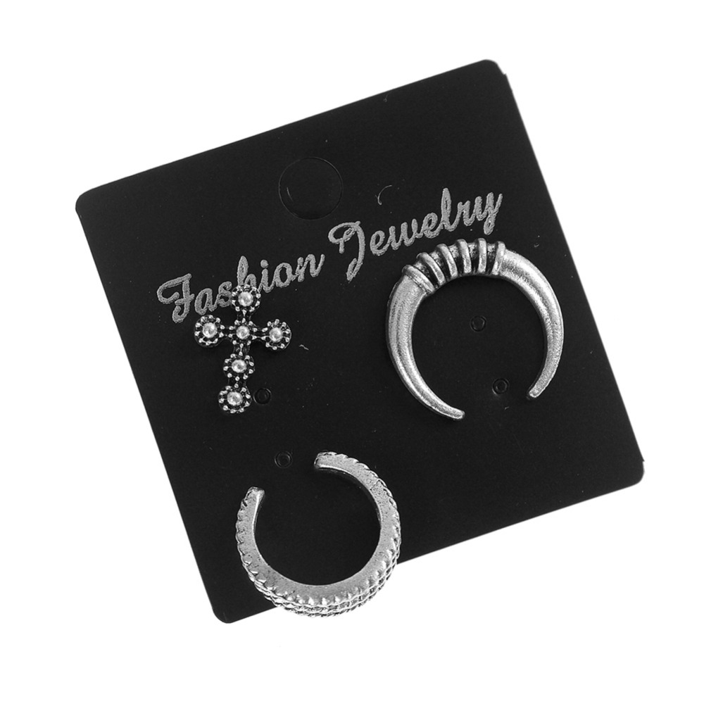 New Fashion Jewelry Vintage Silver Color Moon Crescent Stud Gift For Women Girl 1Pair