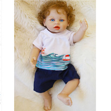 40cm Beb Reborn Menino Vinyl Doll Toys Baby Whole Silicone Body Boneca Realista with Blue Eyes Boy Brinquedos