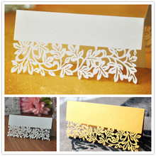 50pcs Laser Cut Lace Leaf Table Name Place Guest Card Recycled Paper For Wedding Birthday Christmas