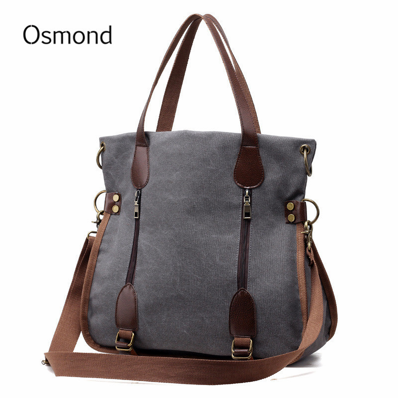 Osmond Women Famous Brand Handbag Ladies Casual Totes Bag Large Capacity Canvas Shoulder Bags Top Handle Crossbody Bolsa Vintage стоимость
