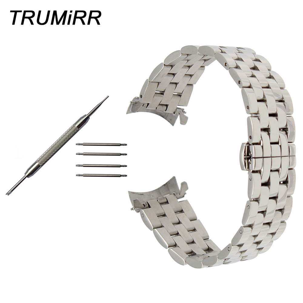 Stainless Steel Watchband Curved End Strap for Patek Philippe Blancpain Watch Band Butterfly Clasp Wrist Bracelet 18 20 22 24mm