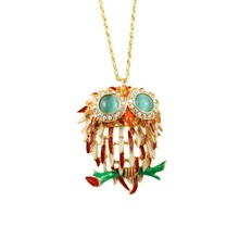 Accessories multicolour oil female exquisite -studded – eye owl necklace