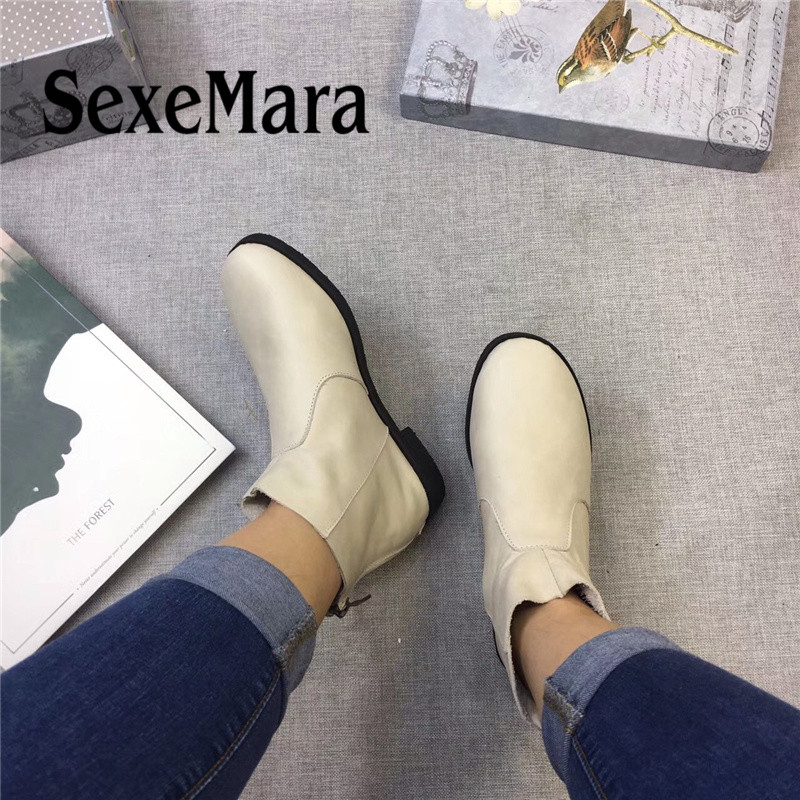 SexeMara Spring Autumn Women Ankle Boots Hand-made Genuine Leather women's flats Boots Back zipper Shoes Female Footwear 2018 spring autumn new genuine leather ankle boots nice spring hollow mesh boots women shoes female fashion zipper summer shoes