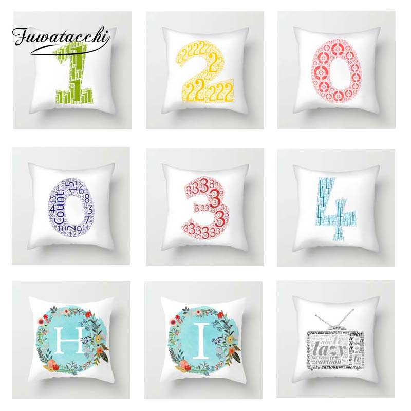 Fuwatacchi 0-9 Numbers Cushion Cover A-Z Alphabet Letters Throw Pillow For Sofa Home Decor Pillowcases New 2019 Arrive