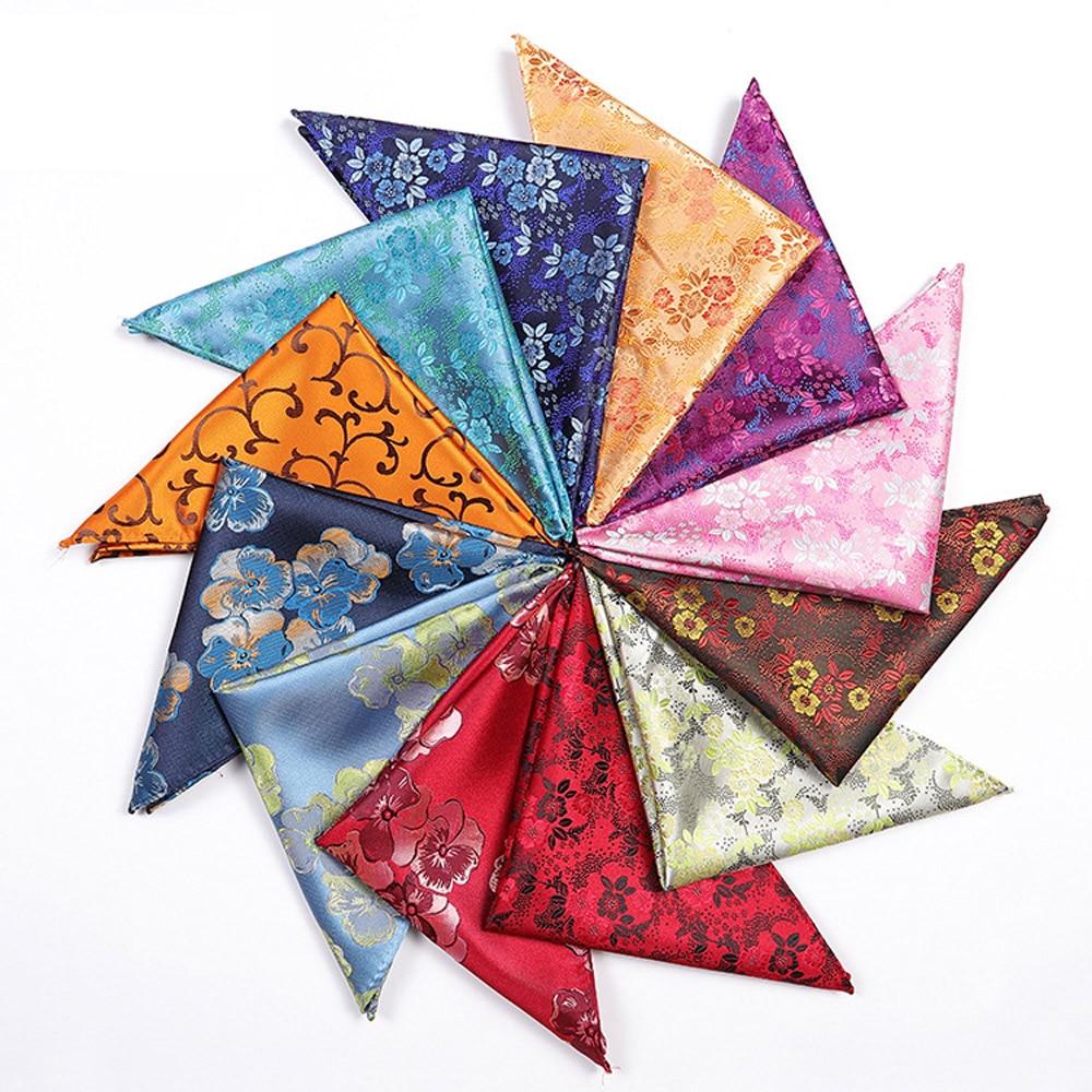 Men Bright Color Floral Print Pocket Square Hanky Wedding Party Handkerchief BWTHZ0319