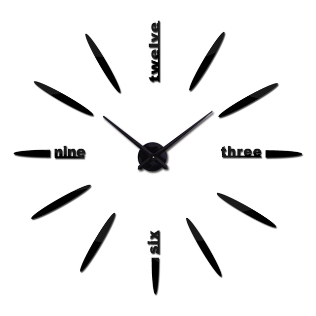 2017 new sale 3d diy wall clock clocks horloge watch Acrylic mirror stickers real  Living Room Quartz Europe